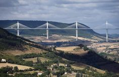 Millau Viaduct, Millau, France - Stretching 1125 feet high, this 2004 structure has earned the title of world's tallest vehicular bridge.