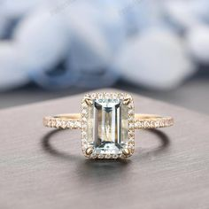 ❤ Halo Aquamarine Ring, 6x8mm Emerald Cut Aquamarine Ring, Solid 14k Gold Ring, Aquamarine Engagement Ring, Custom Aquamarine Antique Jewelry ***This beautiful piece is made with 14k solid gold and is set with Natural Aquamarine, in art deco design which can be fit with straight plain band.*** ❤ Moissanite Wedding Rings, Diamond Wedding Rings, 14k Gold Ring, Gold Rings, Emerald Cut Aquamarine Ring, Solid Gold, White Gold, Ombre Brown, Simulated Diamond Rings
