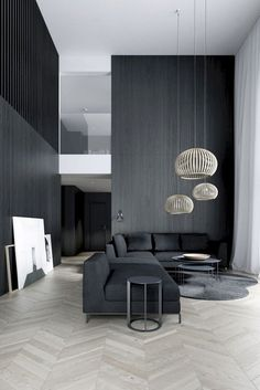 25 Lovely Living Room Decor Ideas With Black Walls Small Living Room Ideas Black Decor Ideas Living Lovely Room Walls Modern Minimalist Living Room, Living Room Modern, Home Living Room, Contemporary Living Room Designs, Minimalist House Design, New Wall, Black And White Living Room Decor, Black Decor, Black Living Rooms
