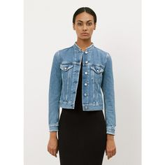 Acne Studios Top Fray Denim Jacket (5.254.000 IDR) ❤ liked on Polyvore featuring outerwear, jackets, button jacket, denim jacket, distressed jean jacket, slim fit denim jacket and blue jean jacket