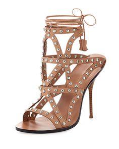 X35X5 Sophia Webster Mila Studded Laser-Cut Sandal, Tan