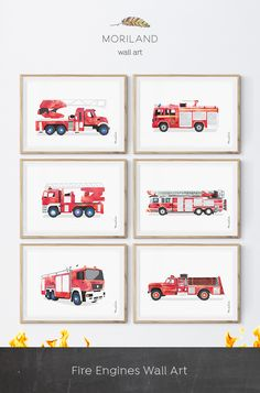 New Fire Truck Room Fireman Nursery Ideas Fireman Nursery, Fireman Room, Firefighter Bedroom, Fire Truck Bedroom, Fire Truck Nursery, Truck Room, Truck Art, Art Wall Kids, Wall Art