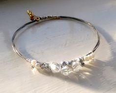 Crystal and pearl guitar string bangle