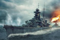 The Prinz Eugen precedes the Bismarck during the Battle of the Denmark Strait, courtesy of Piotr Forkasiewicz.