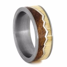 Mountain Ring With Aspen Wood and Mesquite Burl