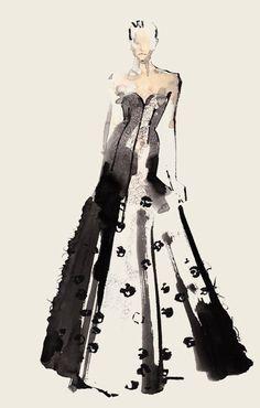 Burberry London Fashion week watercolor illustration