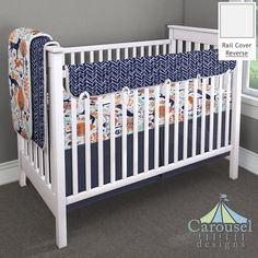 Crib bedding in Windsor Navy Herringbone, Navy and Orange Woodland Animals, Solid Navy. Created using the Nursery Designer® by Carousel Designs where you mix and match from hundreds of fabrics to create your own unique baby bedding. #carouseldesigns