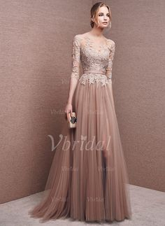 **Available other colors - ss** A-Line/Princess Scoop Neck Floor-Length Appliques Lace Split Front Tulle Zipper Up Covered Button Sleeves 1/2 Sleeves No Other Colors Spring Summer Fall Evening Dress