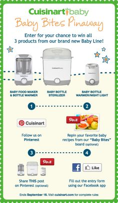 Enter for your chance to win all 3 products in Cuisinart's brand new Baby Line!