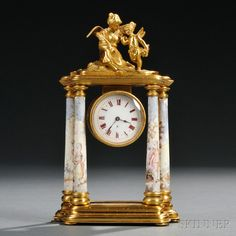 Viennese Gilt-bronze and Enamel Figural Mantel Clock, Austria, late century, Cupid and Psyche seated atop an architectural frame with suspended case and enameled columns and base. Clocks For Sale, Old Clocks, Antique Clocks, Art For Sale, French Clock, Mantel Shelf, European Furniture, Time Clock, Tea Service