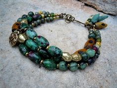 Bohemian Bracelet / Trade Beads / Ruby Zoisite / Gypsy by Syrena56, $46.00