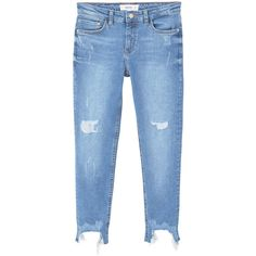 MANGO Crop Skinny Isa Jeans (801.345 IDR) ❤ liked on Polyvore featuring jeans, calça, jeans/pants, pants, destructed skinny jeans, ripped jeans, skinny jeans, destroyed skinny jeans and blue jeans