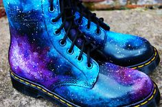 We're kinda loving these for wearing on those chilly Autumn eves, pair with one of our tees with skinnies for a funky edgy look! Galaxy Cosmic Gothic Print Doc Dr Martens. Hand Painted . made to order. any size. £175.00, via Etsy. #edgyfashion
