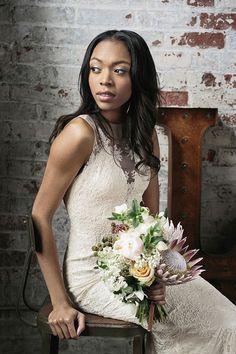romantic industrial wedding inspiration | Yasmin Gown from @BHLDN | hudson nichols photography