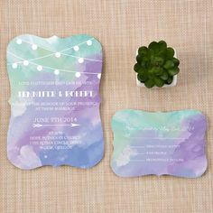 bracket shaped shades of green and purple watercolor wedding invites EWIb370 as low as $1.14