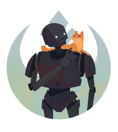 552: K-2 and Kitty December has been one heck of a month for drawing slumps. For some reason fan art tends to pull me out of them so here's K2-SO with a kitty friend ❤