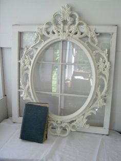 Shabby Chic Large Oval Baroque Ornate Open Frame - Antique White - Gallery Frame - Home Decor - Wall Decor - Photo Prop - Romantic- Wedding. $75.00, via Etsy.
