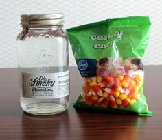 How to make a Candy Corn Moonshine infusion - also works with vodka and Barcadi light rum. Perfect for #Halloween and #tailgating #ShineResponsibly