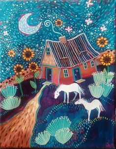 Twinkle by Sally Bartos Landscape Art, Landscape Paintings, Illustrations, Illustration Art, Art Fantaisiste, Farm Art, Southwest Art, Cool Paintings, Canvas Paintings