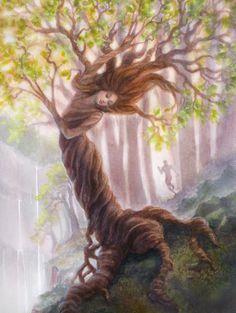 Into the Trees: Daphne & Apollo, Watercolor Illustration