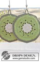 Drops Pattern 152-39, Crochet kiwi pot holders in Paris