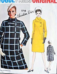 1960s RARE Christian Dior Coat Dress Pattern VOGUE PARIS ORIGINAL 1718 Slim Front Stylish Mod Dress Bust 34 Vintage Sewing Pattern FACTORY FOLDED + Label