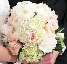 ivory hydrangea, white peonies, light pink roses, white tulips