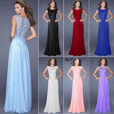 Bridesmaid Women Ladies Lace Long Maxi Dress Evening Cocktail Wedding Ball Gown #UnbrandedGeneric #BallGown #Cocktail