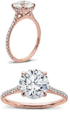 http://www.adiamor.com this IS my dream ring...!!! 1.5mm witdth, pave 3/4 down the band, round solitaire in basket setting.. rose gold. so incredible - JV