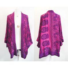 Upcycled Sari Kimono Silk Kimono Kaftan Top Kimono Jacket Kimono... ($69) ❤ liked on Polyvore featuring light purple, outerwear, women's clothing, silk caftan, vintage caftan, silk kaftan, indian kaftan and vintage kaftan