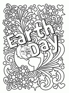 Celebration Earth Day coloring page for kids, coloring pages printables free - Wuppsy.com