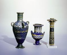 Core-formed glass cosmetic vessels, two are perfume flasks, the third a palm column kohl (eyepaint) container, Egypt, 18th dynasty, c. 1450-1336