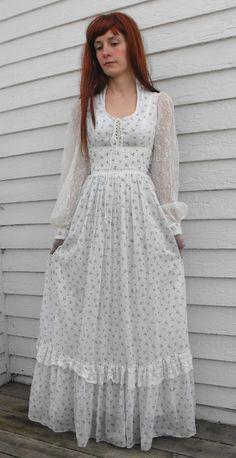 Vintage 70s Gunne Sax Dress Floral Corset Prairie by soulrust