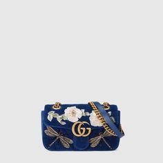 Gucci Minibolso GG Marmont de Terciopelo con Bordado