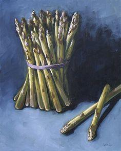 Paparazzi - Lynn Cyr, Still Life & Landscape Fine Artist. Asparagus oil painting