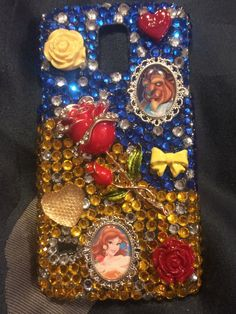 MADE TO ORDER Disney Beauty and The Beast Bling Bedazzled Decoden Phone Case iPhone 4/4s/5/5c/5s Samsung Galaxy S3/S4/S5