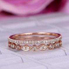 2pcs Diamond matching band in 14k rose gold/Milgrain wedding ring/Art deco marquise/Half eteniry rin