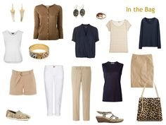 travel capsule wardrobe in navy and beige with leopard accessories