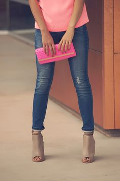neon and denim. The booties or shoeties really set off the look.