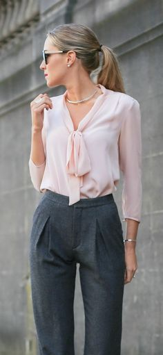 what to wear with white neck tie blouse - Google Search