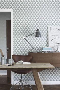 Papel pintado estampado geometrico en gris.