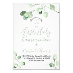 watercolor eucalyptus decor first communion invitation   Zazzle.com