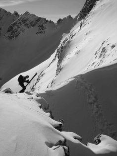 Dropping in on a Jackson Hole chute Jackson Hole, Ski And Snowboard, Mount Everest, Skiing, Mountains, Nature, Travel, Ski, Naturaleza