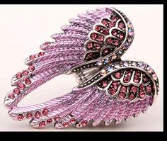 Adjustable Rhinestone Encrusted Angel Wing Ring