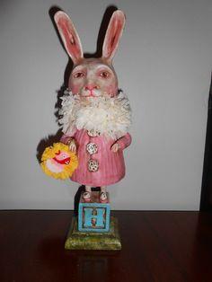 "PINK BUNNY, 12"" tall. 2013 Original Debra Schoch piece.  Paper  Clay Material."