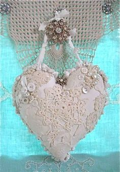 White lace shabby chic heart by faye
