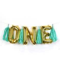 """ONE"" Letter Balloon Banner Kit Blue"
