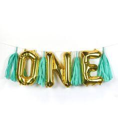 """""""ONE"""" Letter Balloon Banner Kit Blue"""