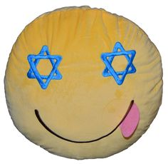 "SIDE TONGUE 14"" Emoji Star of David Channukah Jewish Throw Pillow Yellow Soft Plush"