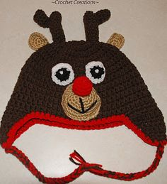 Amy's Crochet Creative Creations: Crochet Reindeer Ear flap Child Hat (free crochet pattern)